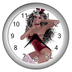 Miss Bunny In Red Lingerie Wall Clock (silver) by goldenjackal