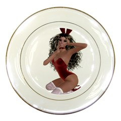 Miss Bunny In Red Lingerie Porcelain Display Plate by goldenjackal