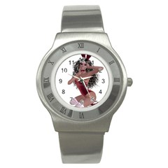 Miss Bunny In Red Lingerie Stainless Steel Watch (slim) by goldenjackal