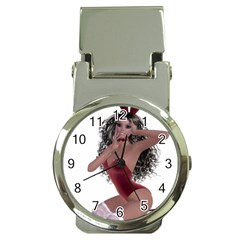 Miss Bunny In Red Lingerie Money Clip With Watch by goldenjackal