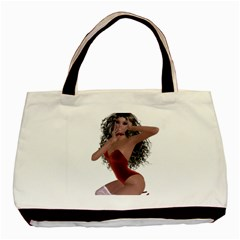 Miss Bunny in red lingerie Twin-sided Black Tote Bag by goldenjackal