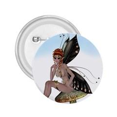 Fairy Sitting On A Mushroom 2 25  Button by goldenjackal