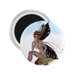 Fairy Sitting On A Mushroom 2 25  Button Magnet