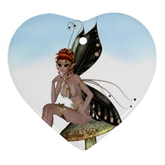 Fairy Sitting On A Mushroom Heart Ornament by goldenjackal