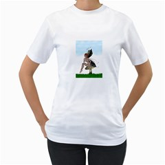 Fairy Sitting On A Mushroom Women s Two Sided T Shirt (white) by goldenjackal