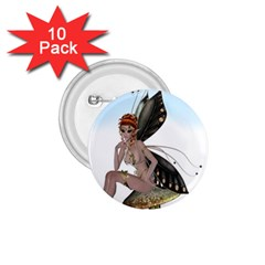Fairy Sitting On A Mushroom 1 75  Button (10 Pack) by goldenjackal