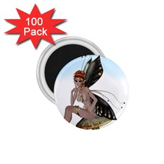 Fairy Sitting On A Mushroom 1 75  Button Magnet (100 Pack) by goldenjackal