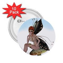 Fairy Sitting On A Mushroom 2 25  Button (10 Pack) by goldenjackal