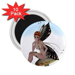Fairy Sitting On A Mushroom 2 25  Button Magnet (10 Pack) by goldenjackal