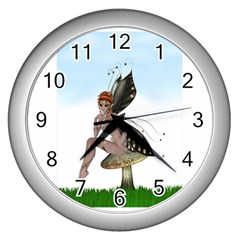 Fairy Sitting On A Mushroom Wall Clock (silver) by goldenjackal