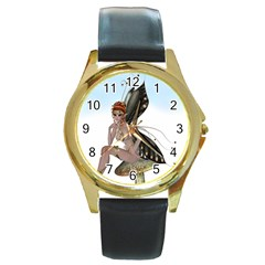 Fairy Sitting On A Mushroom Round Leather Watch (gold Rim)  by goldenjackal
