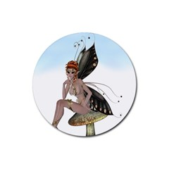 Fairy Sitting On A Mushroom Drink Coasters 4 Pack (round) by goldenjackal