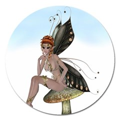 Fairy Sitting On A Mushroom Magnet 5  (round) by goldenjackal