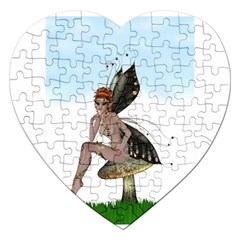 Fairy Sitting On A Mushroom Jigsaw Puzzle (heart) by goldenjackal