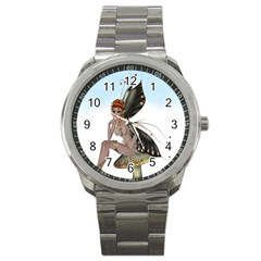 Fairy Sitting On A Mushroom Sport Metal Watch