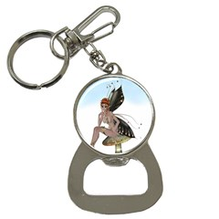 Fairy Sitting On A Mushroom Bottle Opener Key Chain by goldenjackal