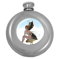 Fairy Sitting On A Mushroom Hip Flask (round) by goldenjackal