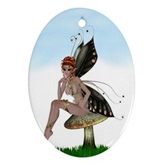Fairy Sitting On A Mushroom Oval Ornament (two Sides) by goldenjackal