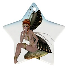Fairy Sitting On A Mushroom Star Ornament (two Sides) by goldenjackal
