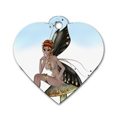 Fairy Sitting On A Mushroom Dog Tag Heart (one Sided)  by goldenjackal
