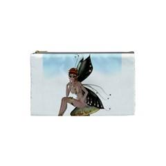 Fairy Sitting On A Mushroom Cosmetic Bag (small) by goldenjackal