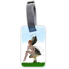 Fairy Sitting On A Mushroom Luggage Tag (one Side) by goldenjackal