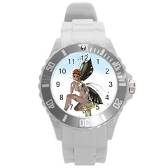 Fairy Sitting On A Mushroom Plastic Sport Watch (large) by goldenjackal