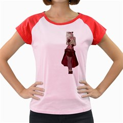 Steampunk Style Girl Wearing Red Dress Women s Cap Sleeve T Shirt (colored)