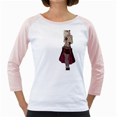 Steampunk Style Girl Wearing Red Dress Women s Long Cap Sleeve T Shirt (white)