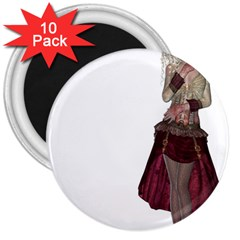 Steampunk Style Girl Wearing Red Dress 3  Button Magnet (10 Pack) by goldenjackal