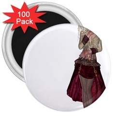 Steampunk Style Girl Wearing Red Dress 3  Button Magnet (100 Pack) by goldenjackal