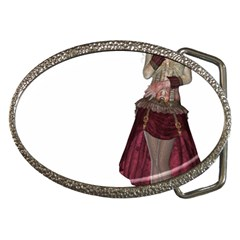 Steampunk Style Girl Wearing Red Dress Belt Buckle (oval) by goldenjackal
