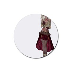 Steampunk Style Girl Wearing Red Dress Drink Coasters 4 Pack (round) by goldenjackal