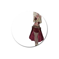 Steampunk Style Girl Wearing Red Dress Magnet 3  (round) by goldenjackal