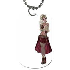 Steampunk Style Girl Wearing Red Dress Dog Tag (two Sided)  by goldenjackal