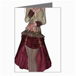 Steampunk Style Girl Wearing Red Dress Greeting Card (8 Pack)