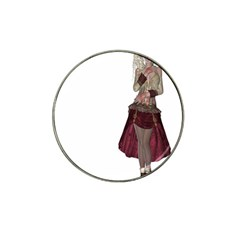 Steampunk Style Girl Wearing Red Dress Golf Ball Marker 4 Pack (for Hat Clip) by goldenjackal