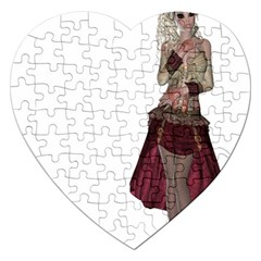 Steampunk Style Girl Wearing Red Dress Jigsaw Puzzle (heart) by goldenjackal