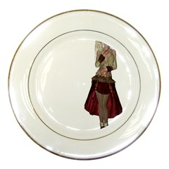 Steampunk Style Girl Wearing Red Dress Porcelain Display Plate by goldenjackal