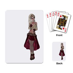 Steampunk Style Girl Wearing Red Dress Playing Cards Single Design by goldenjackal