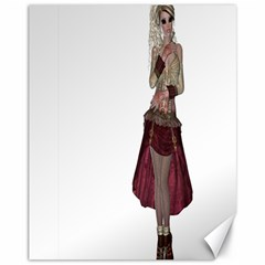 Steampunk Style Girl Wearing Red Dress Canvas 11  X 14  (unframed) by goldenjackal