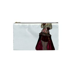 Steampunk Style Girl Wearing Red Dress Cosmetic Bag (small) by goldenjackal