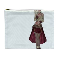 Steampunk Style Girl Wearing Red Dress Cosmetic Bag (xl) by goldenjackal