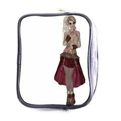 Steampunk Style Girl Wearing Red Dress Mini Travel Toiletry Bag (one Side) by goldenjackal