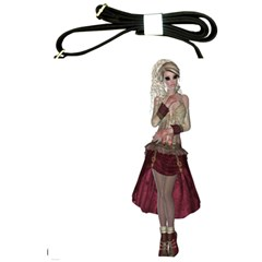 Steampunk Style Girl Wearing Red Dress Shoulder Sling Bag by goldenjackal