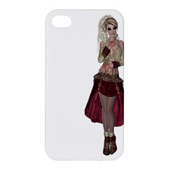 Steampunk Style Girl Wearing Red Dress Apple Iphone 4/4s Premium Hardshell Case by goldenjackal