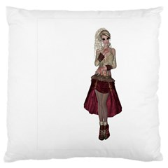 Steampunk Style Girl Wearing Red Dress Large Cushion Case (single Sided)  by goldenjackal