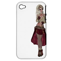 Steampunk Style Girl Wearing Red Dress Apple Iphone 4/4s Hardshell Case (pc+silicone) by goldenjackal