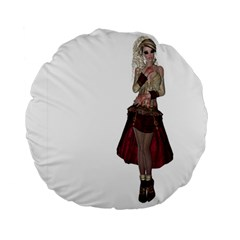 Steampunk Style Girl Wearing Red Dress 15  Premium Round Cushion  by goldenjackal