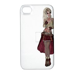 Steampunk Style Girl Wearing Red Dress Apple Iphone 4/4s Hardshell Case With Stand by goldenjackal